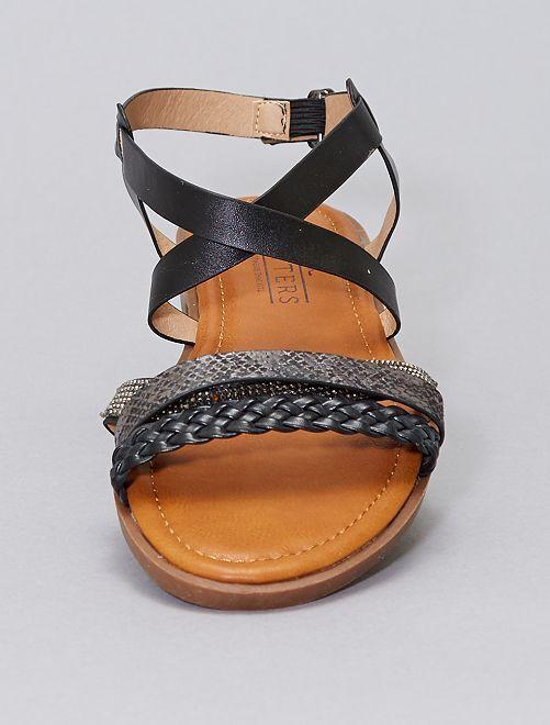 Sandalias de material sintético tallas grandes                             negro