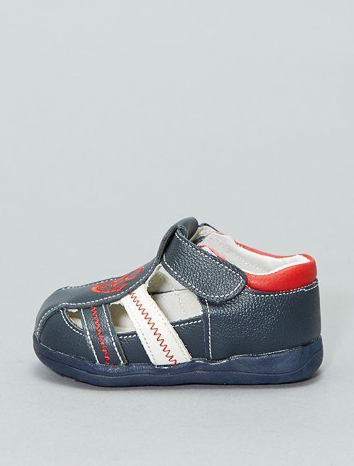Sandalias de piel                             azul navy Chico