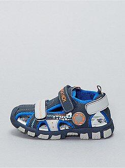 Sandalias de piel sintética con 3 tiras de velcro - Kiabi