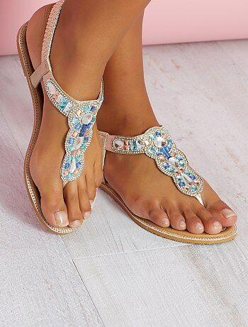 Sandalias de piel sintética con detalles en la tira - Kiabi