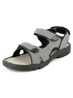 Zapatos - Sandalias de piel sintética y tela con velcros - Kiabi