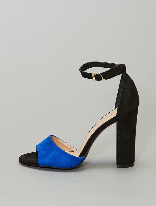 Sandalias de tacón bicolores                                         azul