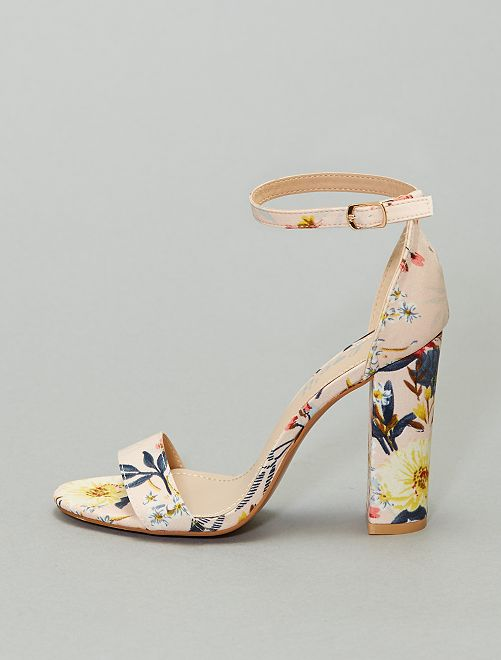 Sandalias de tacón con flores                             BEIGE