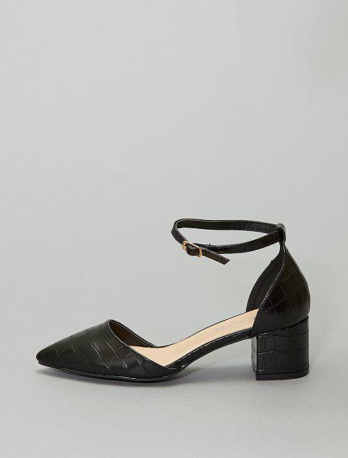 Sandalias de tacón con textura de 'escama'                             negro