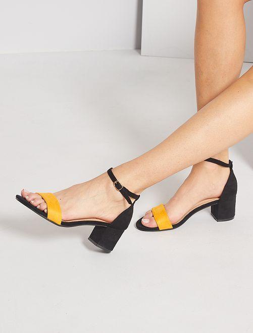 Sandalias de tacón de antelina                                         AMARILLO