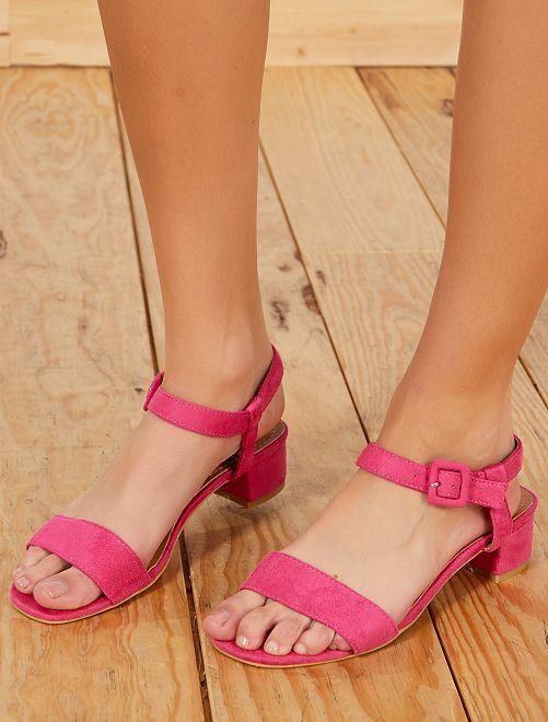 Sandalias de tacón de antelina                                                     fucsia Mujer talla 34 a 48