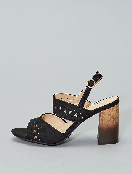 Sandalias de tacón de antelina                             negro Mujer talla 34 a 48