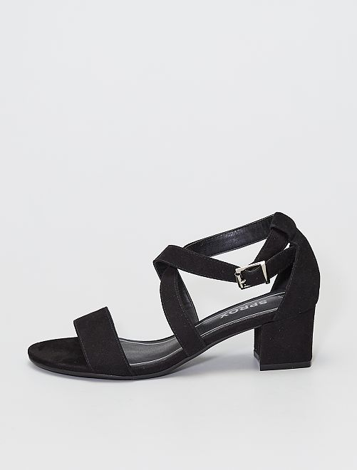 Sandalias de tacón de antelina                             negro