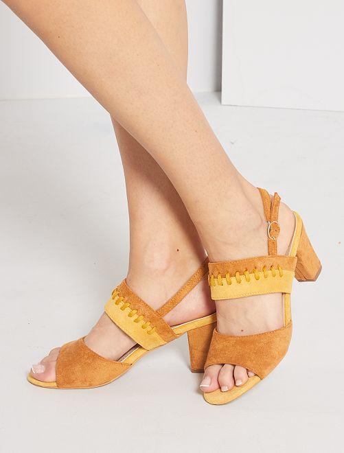Sandalias de tacón de antelina                             oro