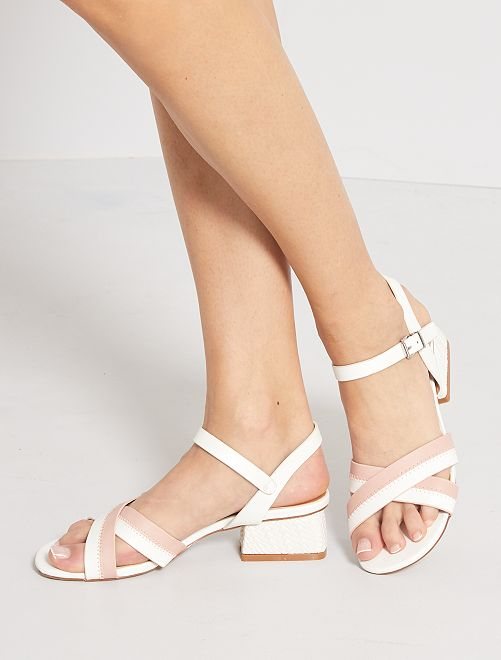 Sandalias de tacón de material sintético                             blanco