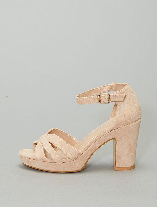 Sandalias de tacón de tela                                         BEIGE