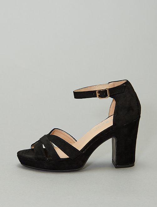 Sandalias de tacón de tela                                         NEGRO