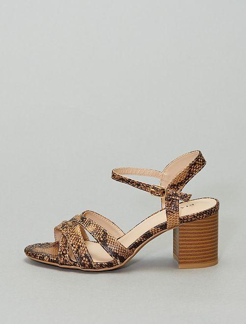 Sandalias de tacón estampadas 'pitón'                             KAKI