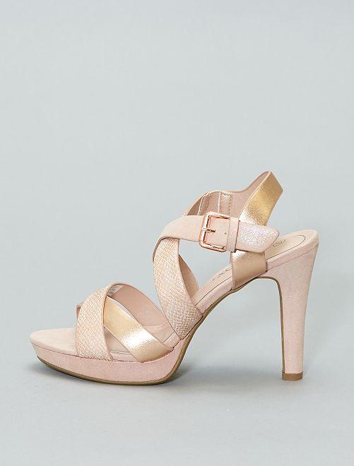 Sandalias de tacón irisadas                             rosa Zapatos