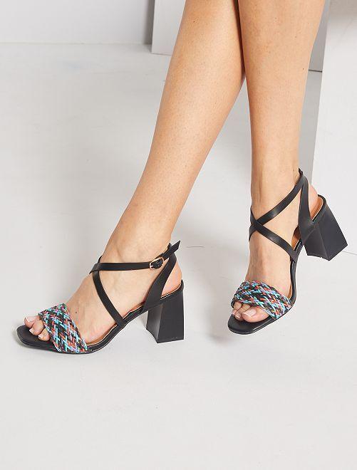 Sandalias de tacón trenzadas                             NEGRO