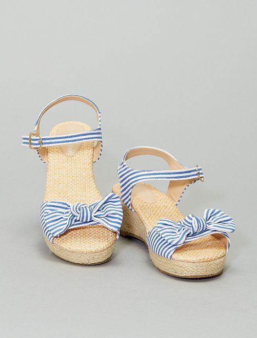 Sandalias de tela con cuña                             azul