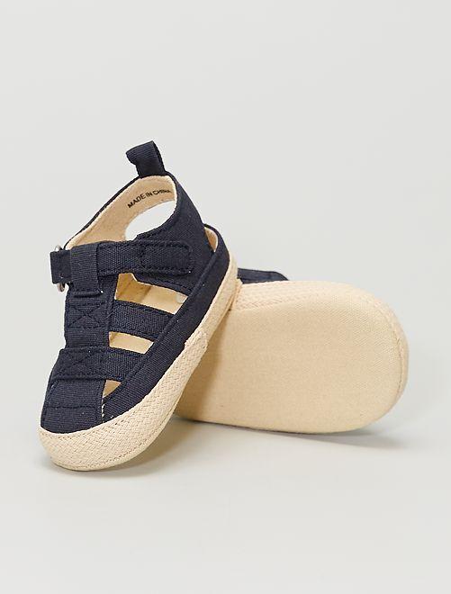 Sandalias de tela con velcro                                         azul