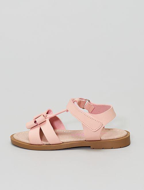Sandalias de velcro con lazo                             rosa