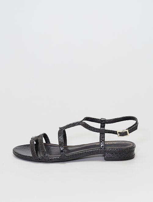 Sandalias efecto escamas                             negro