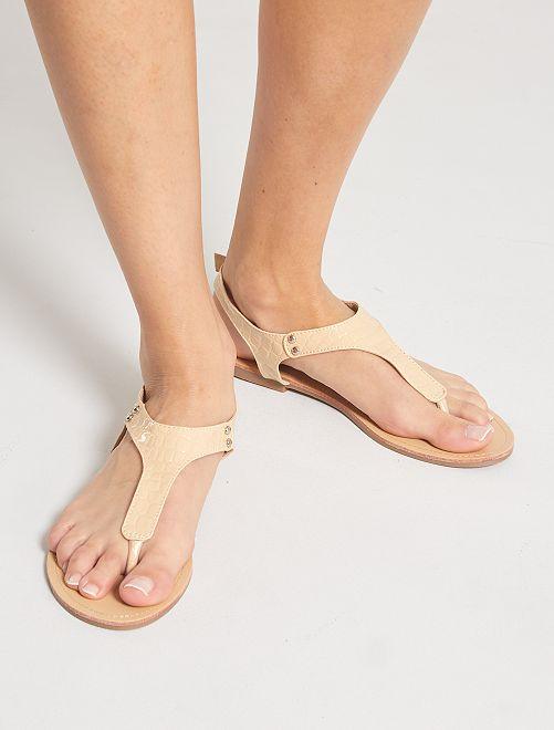 Sandalias efecto piel de cocodrilo                             BEIGE