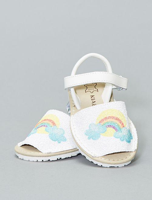 Sandalias menorquinas de piel 'Arcoíris'                             BEIGE