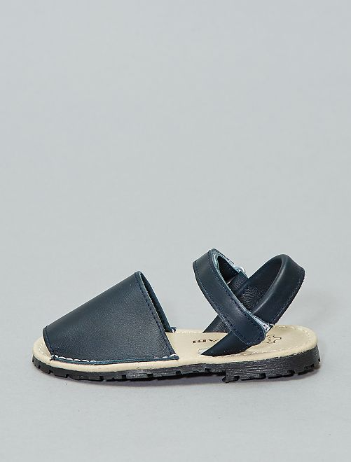 Sandalias menorquinas de piel                                         azul navy Chica