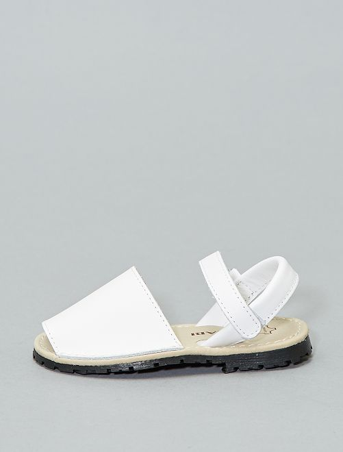 Sandalias menorquinas de piel                                         blanco Chica