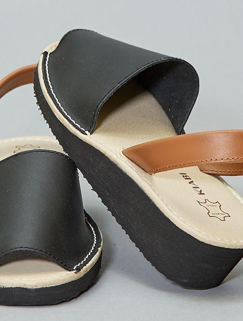 Sandalias menorquinas de piel                             NEGRO