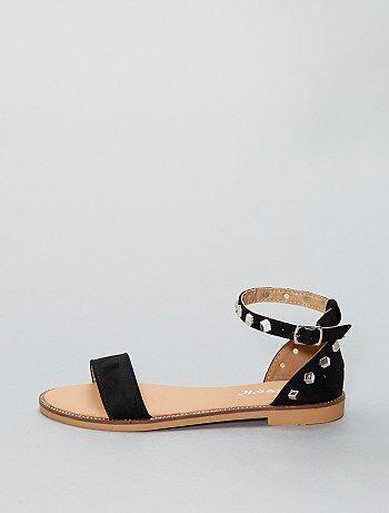 Sandalias planas altas de antelina - Kiabi