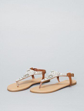 Sandalias planas con pedrería - Kiabi
