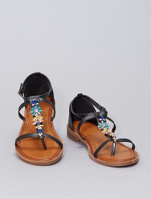 Sandalias planas con pedrería                                         negro