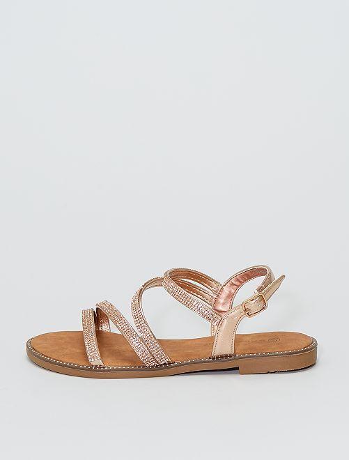 Sandalias planas con pedrería rosa brillante                             ROSA