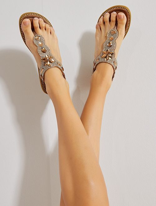 Sandalias planas con strass                                         bronce Mujer talla 34 a 48