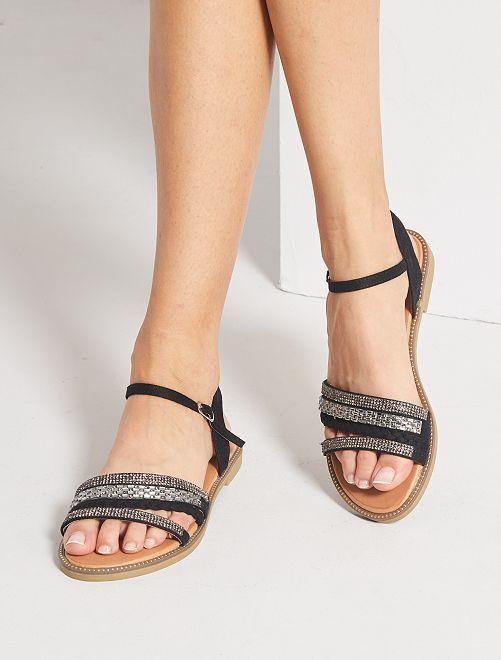 Sandalias planas con strass                                         NEGRO