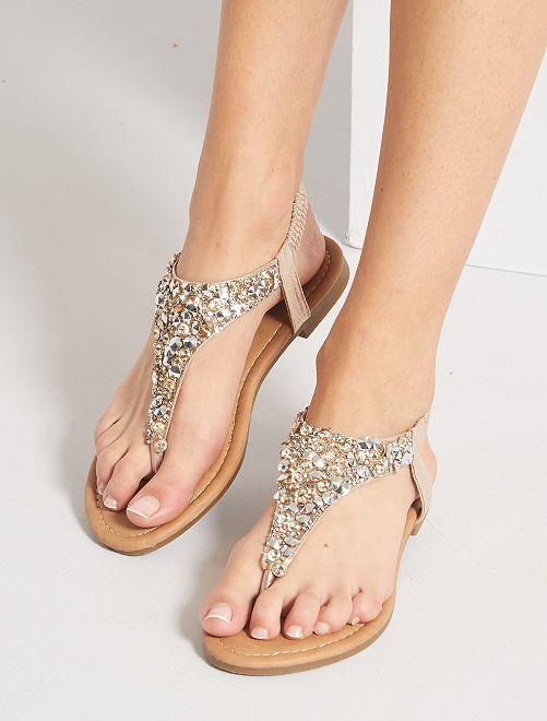 Sandalias planas con strass                             oro