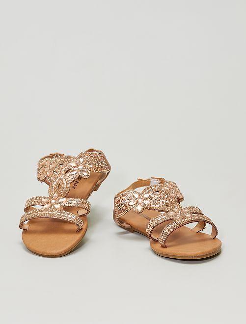 Sandalias planas con strass                             ROSA