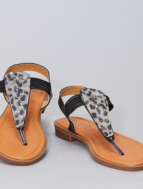Sandalias planas con strass tallas grandes                             negro