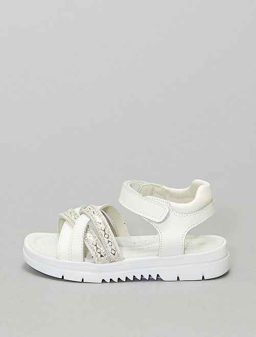 Sandalias planas con suela gruesa                             blanco