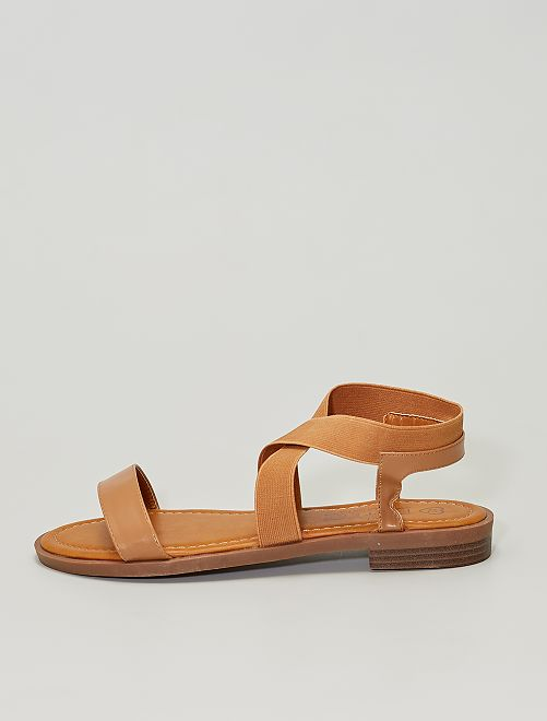 Sandalias planas con tiras elásticas                             BEIGE