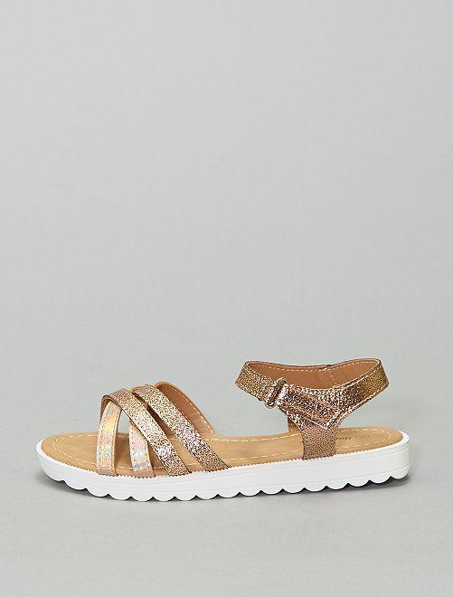 Sandalias planas con varias tiras                             ROSA