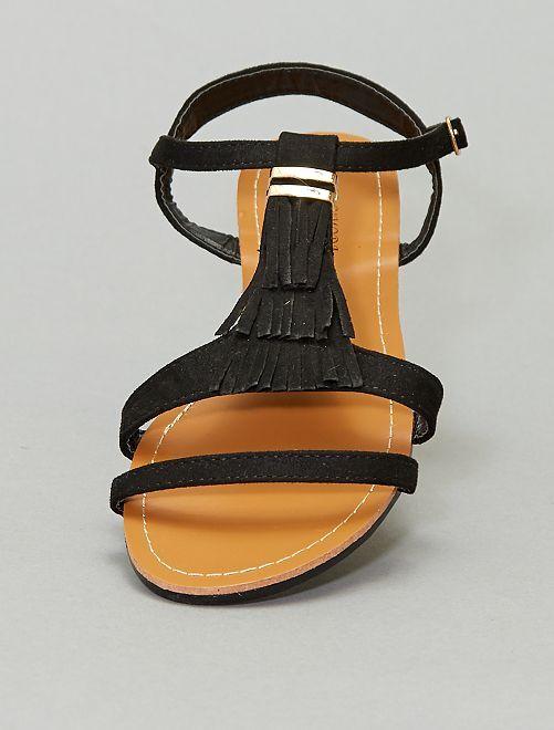 Sandalias planas de antelina                                         negro