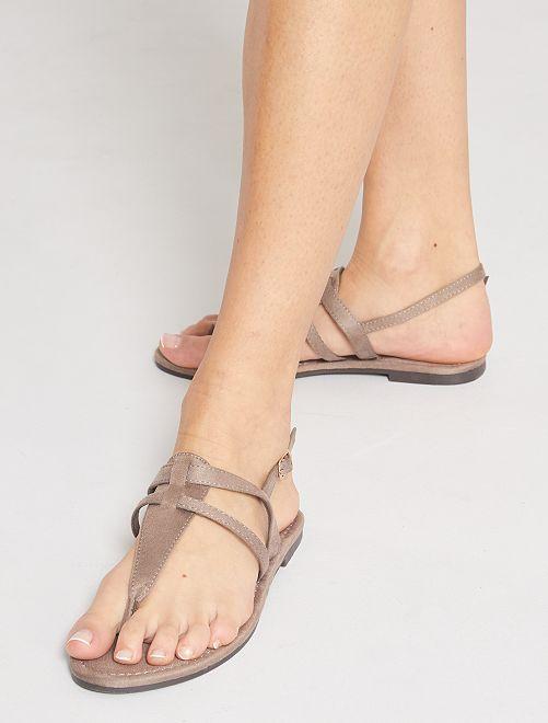 Sandalias planas de antelina                                         topo