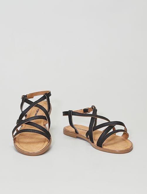 Sandalias planas                     negro