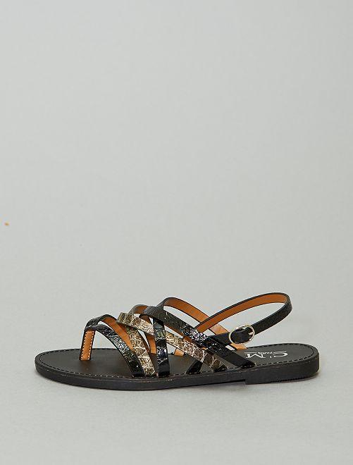 Sandalias planas sintéticas                             NEGRO