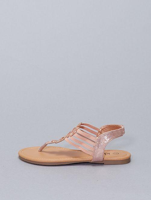 Sandalias planas sintéticas                             ROSA