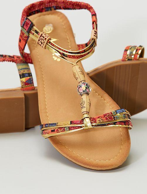 Sandalias planas tela y perlas                                         NEGRO