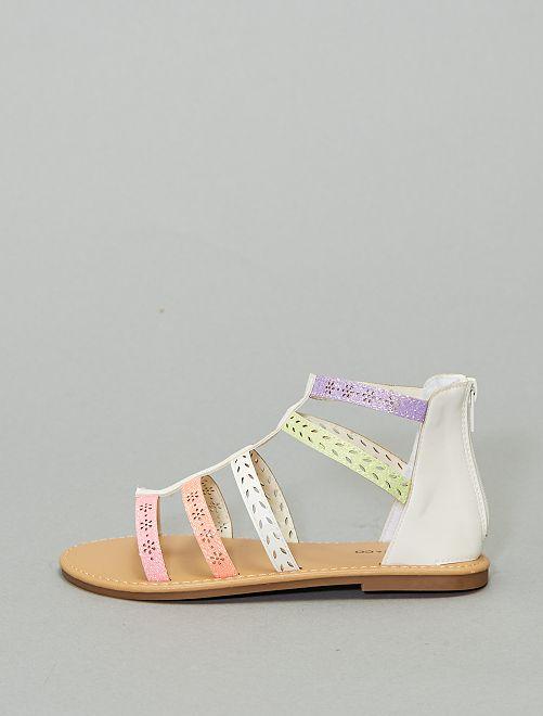 Sandalias romanas con brillos                             BEIGE