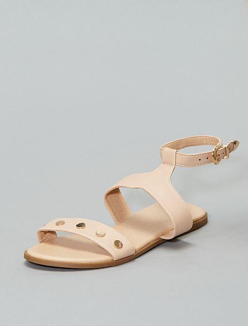 Sandalias sintéticas con detalle dorado                             rosa Zapatos