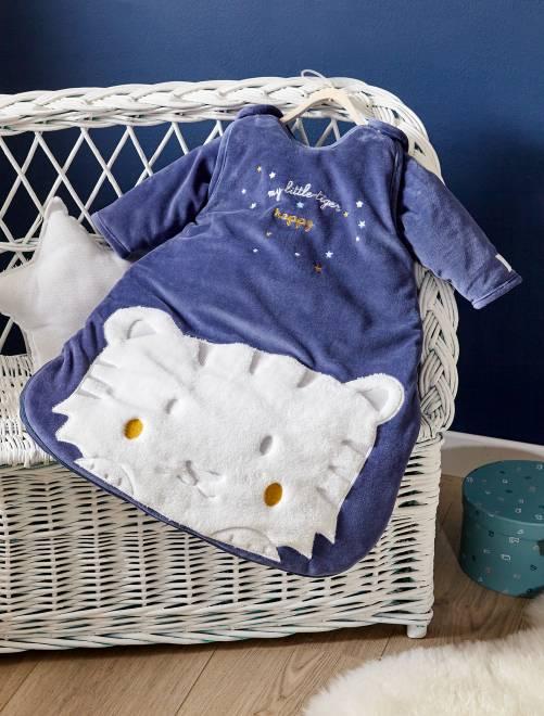 Saquito de terciopelo con mangas desmontables                             AZUL Bebé niño