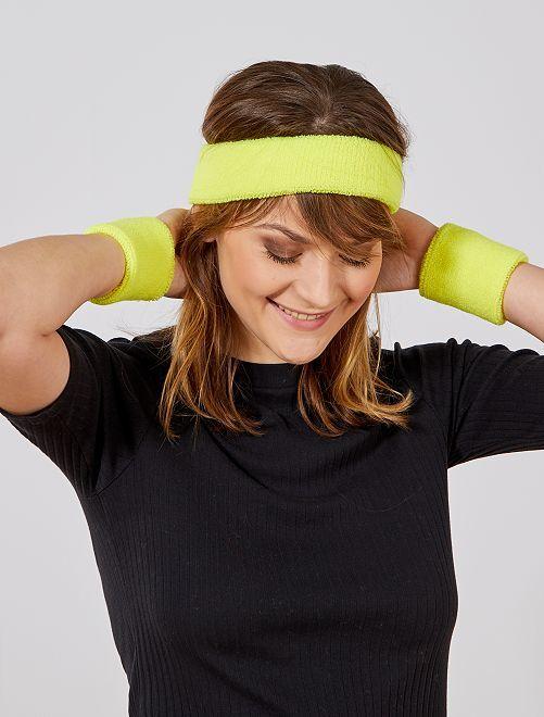 Set de cinta para la cabeza y muñequeras de rizo                                                                 amarillo